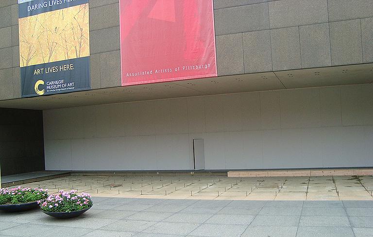 Boarded-up windows in Oakland - Carnegie Museum