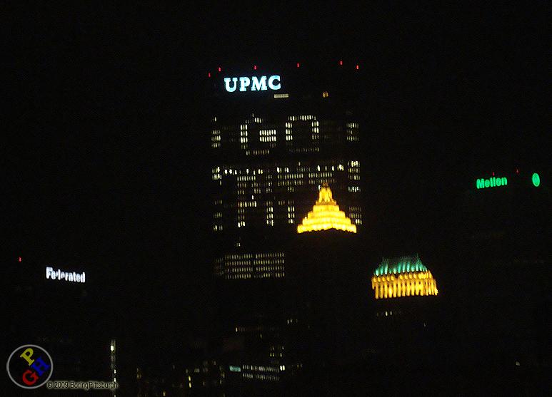 """Steel Building lights spell """"Go Pitt"""""""