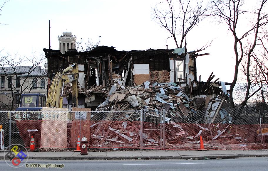 Carnegie Mellon demolition on Forbes Ave, Hamerschlag Hall behind