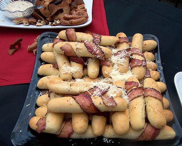 Bacon wrapped garlic bread