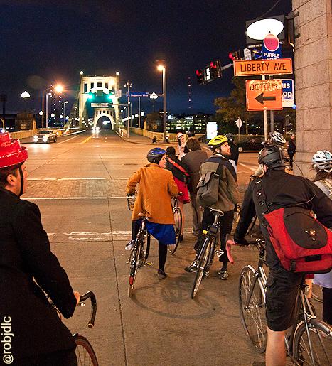 Biking Downtown Pittsburgh by Rob De La Cretaz