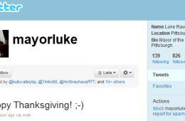 Mayor Luke Ravenstahl says Happy Thanksgiving on Twitter