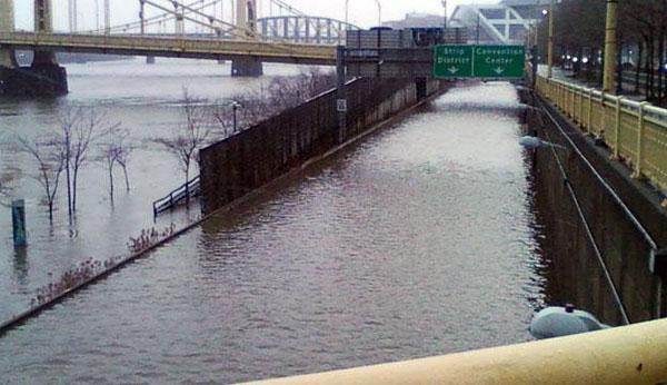 Flooding creates a bathtub in Pittsburgh