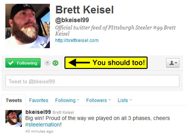 Brett Keisel on Twitter