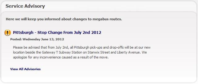 Pittsburgh Megabus Service Advisory: Stop Change