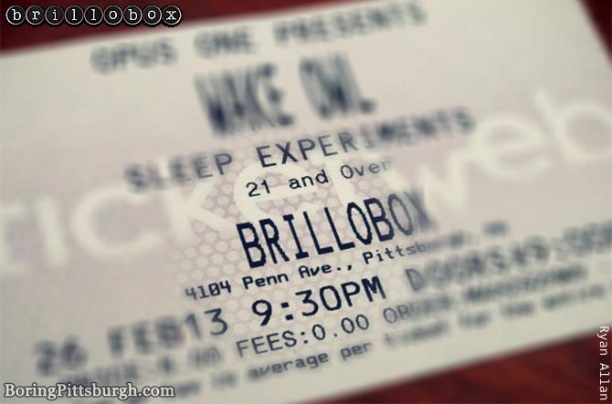 Brillobox on Feb 26 - Wake Owl and Sleep Experiment